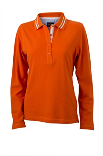 JAMES & NICHOLSON Donna Polo manica lunga con dettagli alla moda arancio scuro/bianco sporco