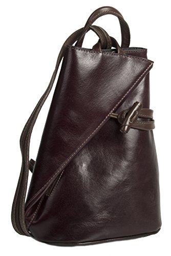 Big Handbag Shop Womens Genuine Italian Leather Convertible Strap Backpack Bag (Maroon - Brown Trim)