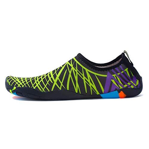 XYL HOME Wasser-Schuhgrünstreifen Ultra helle Strandsocken, die Socken tauchen, die Klassische Barfußwassersportschuhsocken-Strandschwimmen surfen, üben Yoga, 41