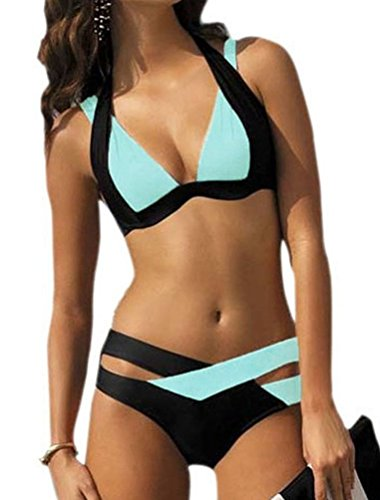 Ghope Damen Elegant Mischfarben Bikini-Sets Neckholder Push-Up Bademode Zweiteilig Strandmode 7 Farbe Größe S-3XL Blau 1