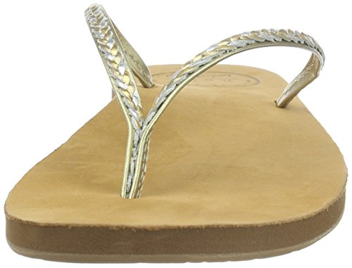 Reef Damen Leather Uptown Braid Sandalen Flipflops Marrón (Champagne)
