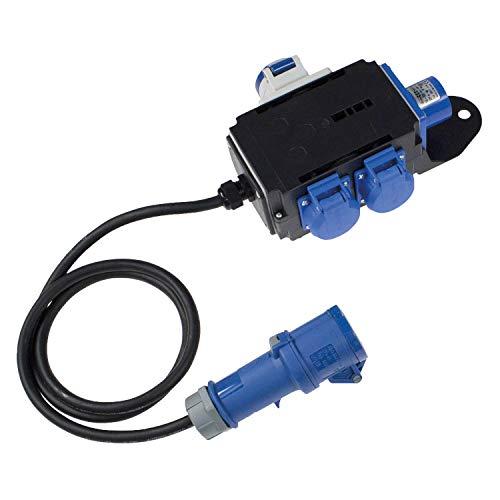 as - Schwabe MIXO Stromverteiler EMS - 230 V / 16 A CEE-Stecker auf 2 x CEE-Steckdosen mit 1,5 m Zuleitung und 1 x Schuko-Steckdose - IP44 Wohnmobil Zubehör - Made in EU - Schwarz I 60496