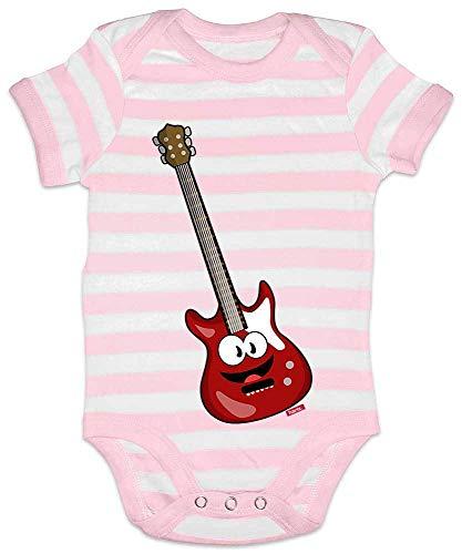 Kostüm Karte Link - HARIZ Baby Body Streifen E-Gitarre Lachend Instrument Kind Witizg Inkl. Geschenk Karte Rosa/Weiß 3-6 Monate