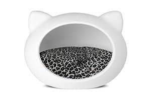 Guisapet Niche avec lit pour chien ou chat Blanc/motif animalier