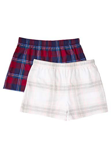 IRIS & LILLY Damen Flannel Check Short Schlafanzughose,2per pack Mehrfarbig (Red Wine/Grey/Pink),X-Large -