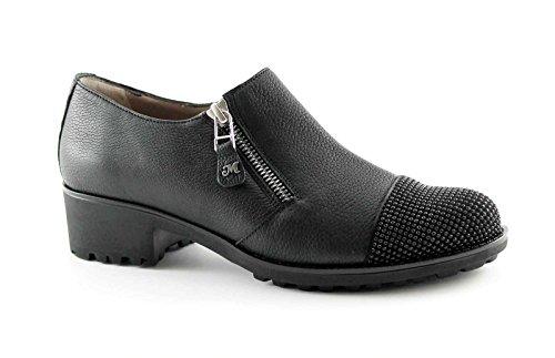 MELLUSO R0920 nero scarpe donna tacco cerniera laterale strass puntale 38