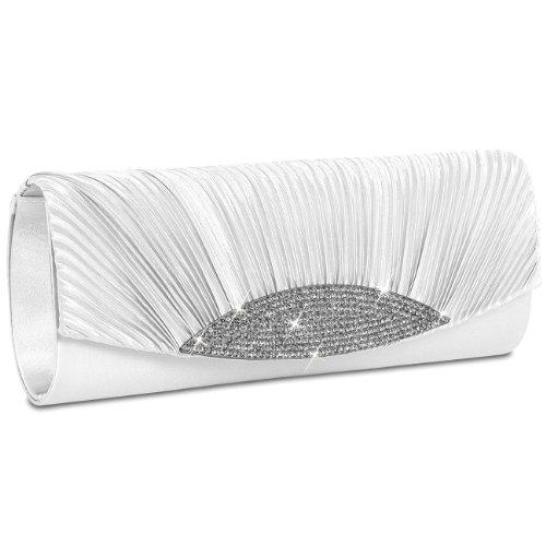 Caspar ta289 donna pochette in raso con drappeggio e strass, colore:bianco