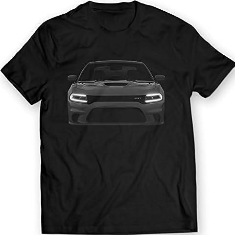 Dodge Charger Hellcat T-shirt 100% coton cadeau cadeau d'anniversaire (M, Noir)