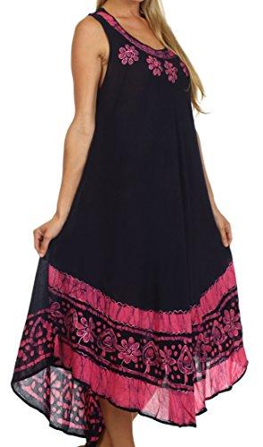 Sakkas Robe Débardeur Batik Fleurs / Robe de plage Blue Marine / Rose