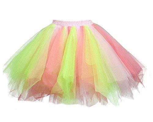 Facent Donna Retro Annata di 50 Anno Tutu Gonna Balletto di Danza Principessa Sottogonna per il Partito di Prom Tulle Rosa/Verde