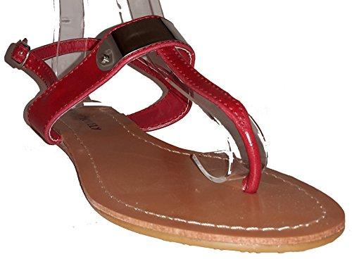 Sexy sandali, infradito donna, flip flop, beige, marrone, bianco, blu, rosso, nero-oro, rosa-rosso e leopardo, modello 11064105006001, modelli e numeri differenti. Rosso.