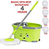 Hugo Bucket Magic Spin Double Drive Hand Pressure Microfiber Mop(Blue)