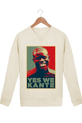 Sweat Homme Foot Yes We Kante - Crème - XXL - pour Fan de N'Golo Kanté - Coton 100% Bio - Imprimé en France