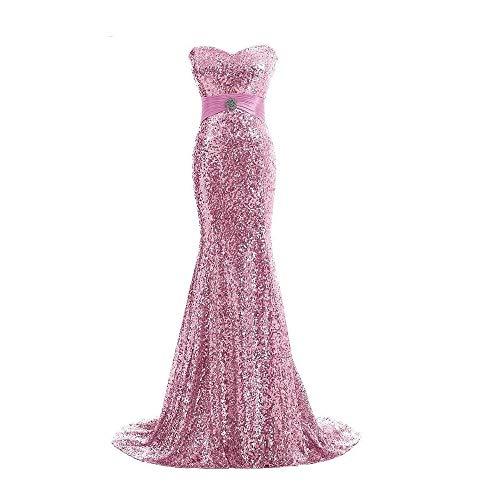 ZSRHH-Kleid Frauenkleid Party Bankett Abendkleid Damen Gold Pailletten Meerjungfrau Schulterfrei Abendkleid (Farbe : Rosa, Size : US8) (Langes Kleid Gold Sparkle)