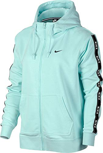 Nike Damen Full Zip Logo Tape Hoodie, Teal Tint/Black, XS Full Zip Terry Hoodie