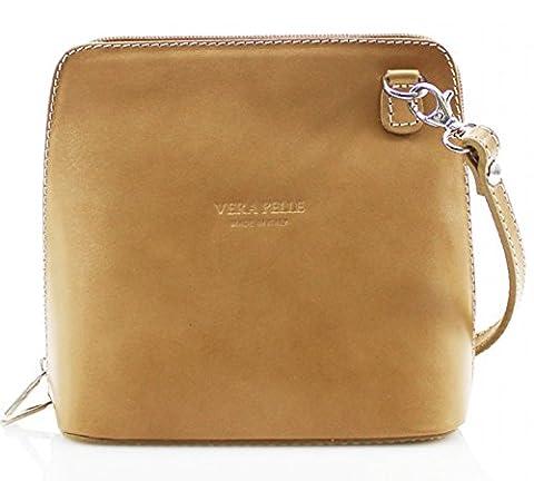 H&G Vera Pelle Trapezoid Shaped Mini Italian Real Leather Cross-Body Handbag (Taupe)