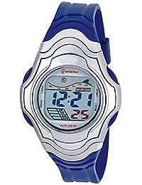 Montre femme quartz digitale bleu sport chrono alarme etanche