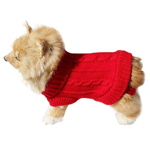 Malloom® Cane Compagnia Gatto Vestiti Invernali Maglione Caldo Maglieria per I Cani Cucciolo Abbigliamento Cappotto (Rosso, 4#)