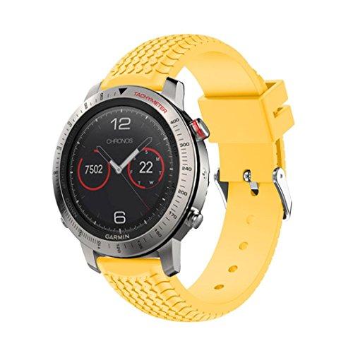 Dummies Gps (Garmin Fenix Chronos GPS Watch Armband, OverDose Ersatz Sport Silikon Armband Band Strap für Garmin Fenix Chronos GPS (A-Gelb, 24cm))