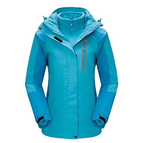 emansmoer Women s 3 in 1 Windproof Waterproof Breathable Coat Outdoor  Camping Hiking Jacket with Warm Fleece Jacket 151fb86e976e