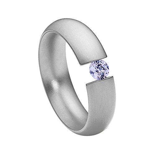 Heideman Damen-Ring intensio matt Spannring mit Swarovski stein lavendel 4 mm funkelt wie ein Diamant aus Edelstahl silber farbend Größe 70 (22.3) (Spannring Diamant)