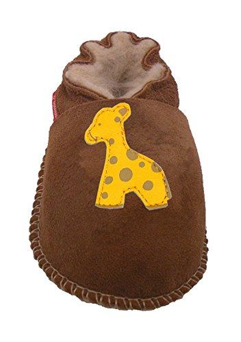 Plateau Tibet - ECHT Lammfellschuhe Babyschuhe Lederpuschen- Giraffe, Braun (Chestnut), Gr. 20-21 -
