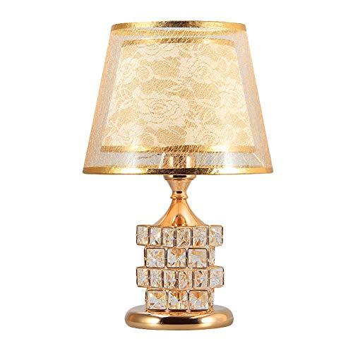 Belief Rebirth Lampe à Poser en Cristal avec veilleuse à LED, Abat-Jour en PVC Double Couche, Lampe de Chevet Art déco Moderne - E27, Convient au Salon, à la Salle à Manger (Color : Gold)