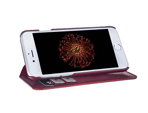 """Antic iPhone 6 / iPhone 6S ECHT LEDER Tasche """" Pan Book"""" Case Handy Tasche Hülle Etui Anticcase Ledertasche Leder Tasche Cover NEU ! (iPhone 6 / 6S, Vintage Dunkel Braun) Vintage Rot"""
