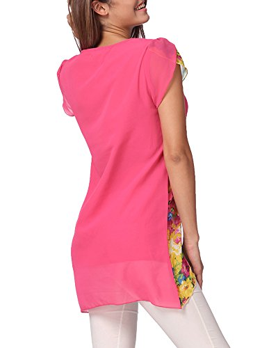 Chiffon Bluse, Romacci Mode Frauen Floral Print Hollow Bluse, Overlay Blütenblatt Ärmeln Tops Rosa