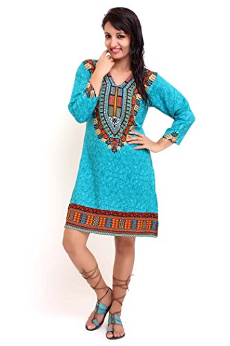 Miss Lavish - Robe - Tunique - Manches 3/4 - Femme multicolore Multicoloured bleu sarcelle