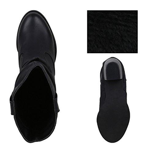 Damen Schuhe Cowboy Boots Holzoptikabsatz mit Blockabsatz Schwarz
