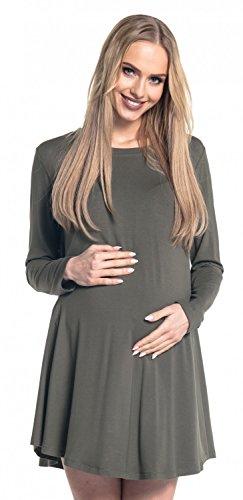 Happy Mama. Femme Maternité Robe Évasée Ras du Cou Tunique Manches Longues. 603p Kaki