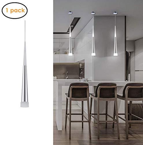 CUIRUILIAN Mini Modern Kitchen Island Pendelleuchte, verstellbare LED-Kegel-Pendelleuchte mit Versilberung Nickel Finish Acryl Shade für Wohnzimmer, Bar-Esszimmer, 7W (Design : White)
