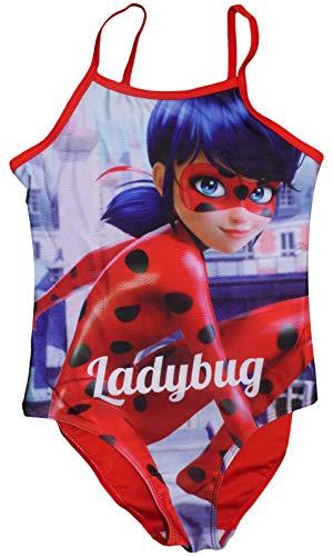 Miraculous Tales of Ladybug & Cat Noir Mädchen Badeanzug (5/6 Jahre (110/116 cm), Rot) -