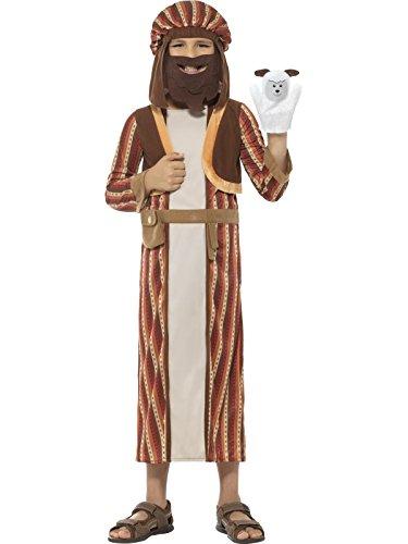 Hirten Einfache Kostüm (Smiffys, Kinder Jungen Hirten Kostüm, Gewand, Kopfteil mit Bart und Schaf Puppe, Alter: 7-9 Jahre,)