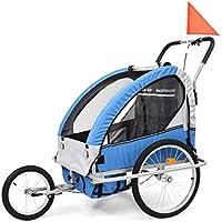 Roderick - Remolque para Bicicleta 2 en 1, Remolque y Cochecito de Bicicleta, Color Azul y Gris, Dimensiones del Compartimento para Remolque de Bicicleta: 62 x 72 x 62 cm (Ancho x Profundidad x Alto)
