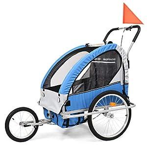 Roderick Irving Fahrradanhänger 2in1 Kinderfahrradanhänger & Buggy blau grau Fahrradanhänger Sitzfach Maße: 62 x 72 x 62…