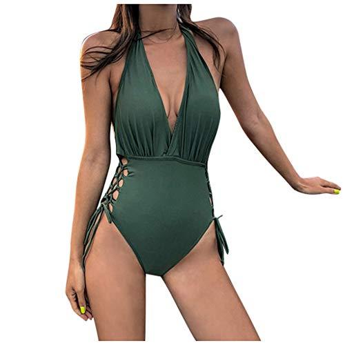 Neckholder Badeanzüge Damen Bauchweg Monokini Sexy Bikini V-Ausschnitt Einteiliger Rückenfrei Einfarbig Schlankheits Badmode Badeanzug Frauen Sommer Mode Beachwear Trikini Tankini Swimsuit