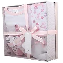 Idea Regalo - Cofanetti nascita del bambino con la tuta, Bib, giocattoli, calzini in una confezione regalo. 0 - 3 mesi