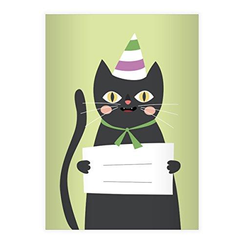 Kartenkaufrausch 4 Super süße Katzen DIN A4 Schulhefte, Schreibhefte mit Party Hut in grün Lineatur 25 (liniertes Heft)