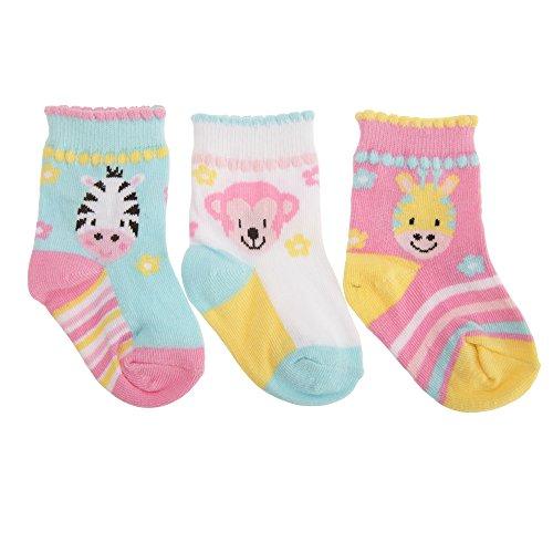 Baby Mädchen sortierte Tier Design Socken (3 Paar) (19-22 EU) (Zebra/Affe/Giraffe) (Kinder-socken Giraffe)