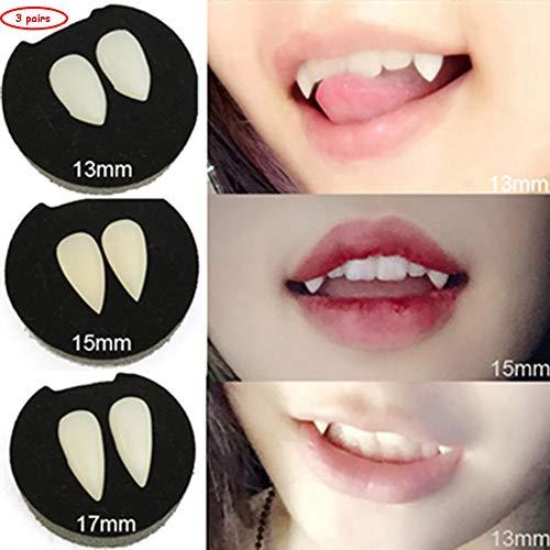 huichang 3 Paar Vampir Zähne Zahnersatz + Kleber -