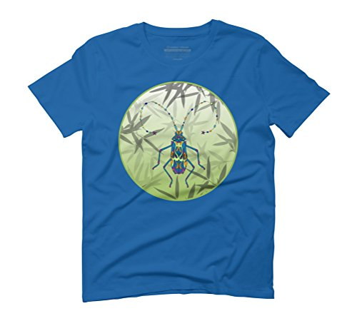 Insect Bamboo leaves Green Unique Pattern Men's Graphic T-Shirt - Design By Humans Royal Blue