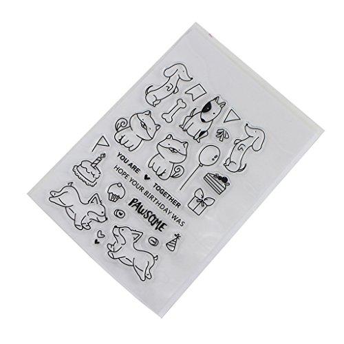 Xurgm Katze und Hund DIY Silikon Klar Stempel Blatt Scrapbooking Album Foto DIY Weihnachten Valentinstag Thanksgiving Geschenke (Hund Foto-verzierung)