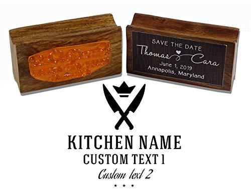 Printtoo Runde Custom Text verschränkt Messer Icon Geschäft Stempel Holz Mounted Restaurant Personalisierte Stamper Idea - Personalisierte Holz-messer