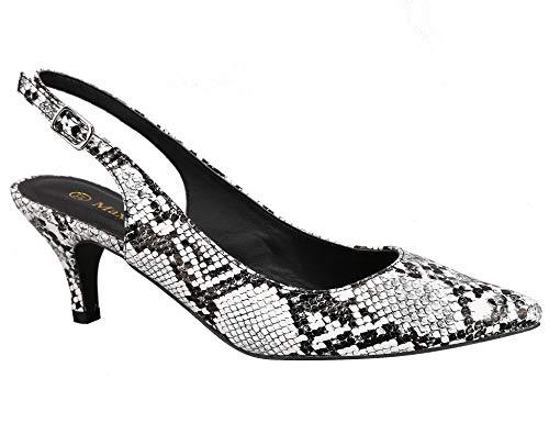 Greatonu Women Slingback Scarpe Basse Corte per Gattini Sandalo Stampa di Serpente Bianco 39 EU