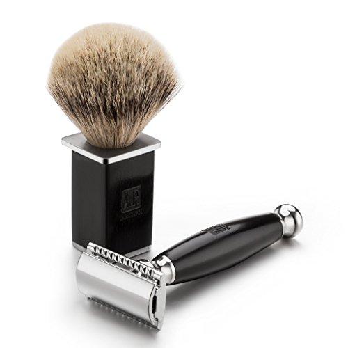 A.P. Donovan - Luxus Rasierhobel-Set - abgerundeter Griff aus schwarzem Sandelholz - Rasierpinsel aus Silberdachs - im Reise-Etui - 3-teilig