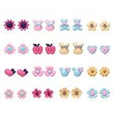 16 paia di orecchini in resina per animali in fiore carino per ragazze (Set di orecchini a 16 borchie stile)