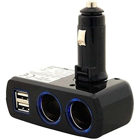 Adattatore CARICATORE DOPPIO USB & ACCENDISIGARO PER AUTO 3.1A /15.5W Caricatore ad alta velocità con 2 porte accendisigaro (prese DC) e per ulteriori dispositivi, tipo sistemi GPS