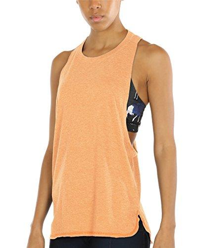 icyzone Sport Tank Top Damen Locker - Yoga Fitness Shirt Racerback Oberteile atmungsaktive (Pumpkin, XL)